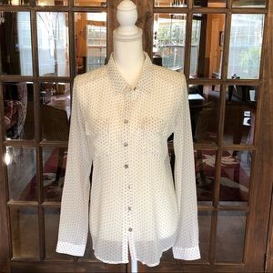 Olive & Oak Sheer White Mini Dot Shirt M